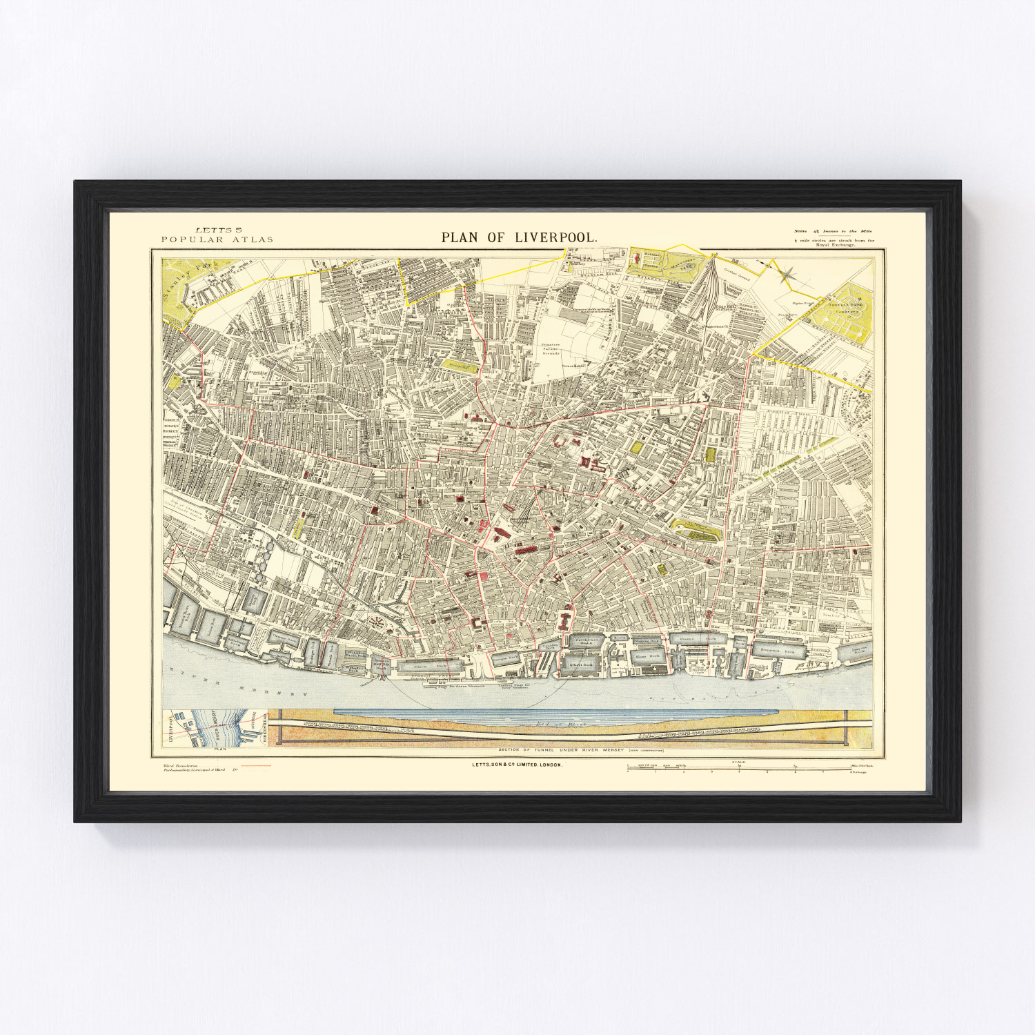 Vintage Map of Liverpool, England 1883