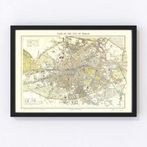 Vintage Map of Dublin, Ireland 1883