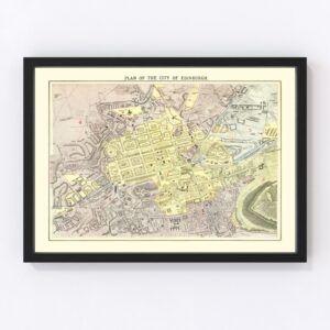Vintage Map of Edinburgh, Scotland 1883