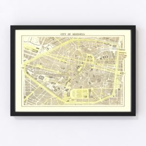 Vintage Map of Brussels, Belgium 1883