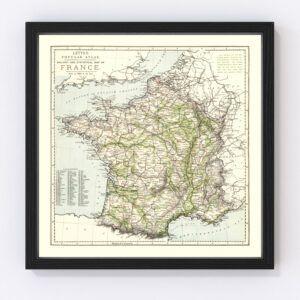 Vintage Map of France 1883