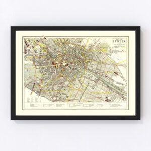Vintage Map of Berlin, Germany 1883