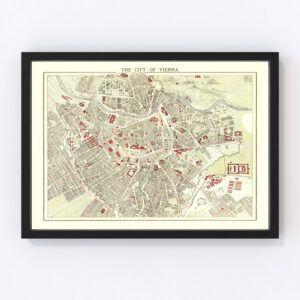 Vintage Map of Vienna, Austria 1883