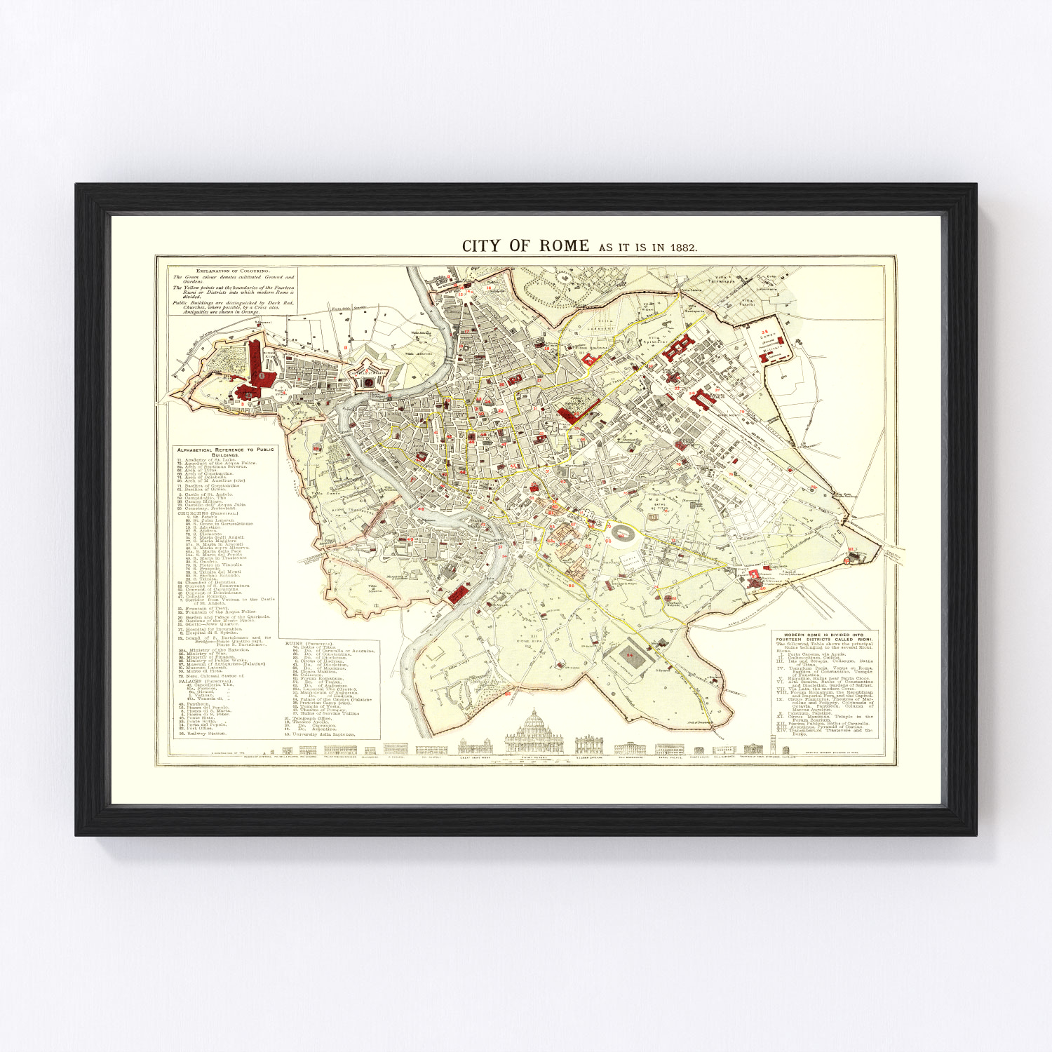 Vintage Map of Rome, Italy 1883