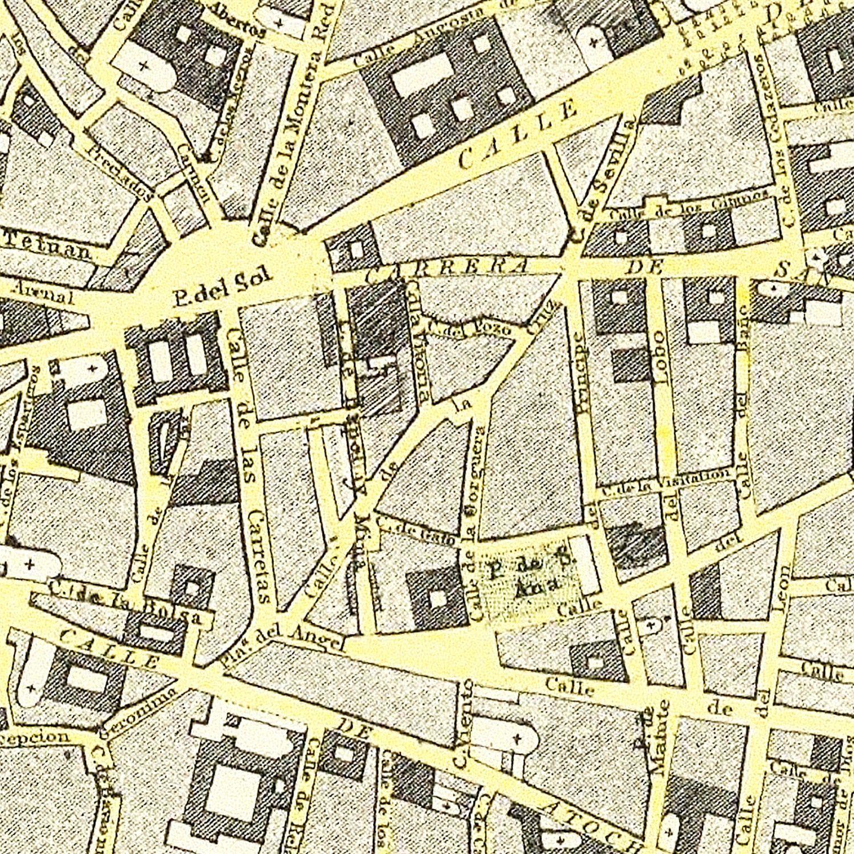 Vintage Map of Madrid, Spain 1883