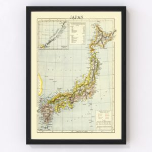 Vintage Map of Japan 1883