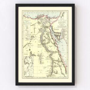 Vintage Map of Egypt 1883