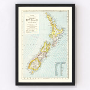 Vintage Map of New Zealand 1883