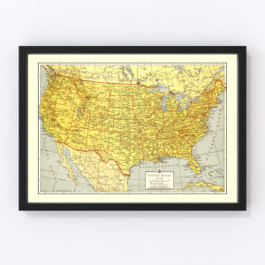 Vintage Map of United States 1943