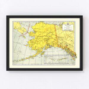 Vintage Map of Alaska 1943