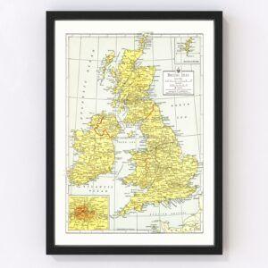 Vintage Map of British Isles 1943