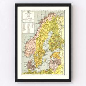 Vintage Map of Scandinavia 1943