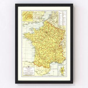 Vintage Map of France 1943