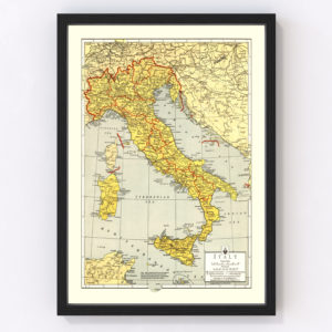 Vintage Map of Italy 1943
