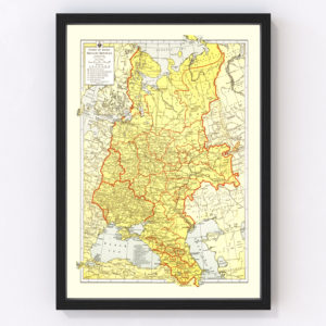 Vintage Map of Soviet Union 1943