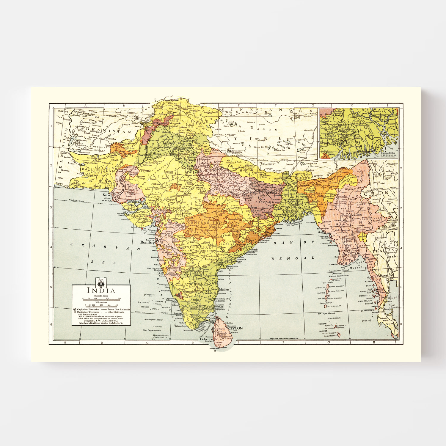 Vintage Map of India 1943