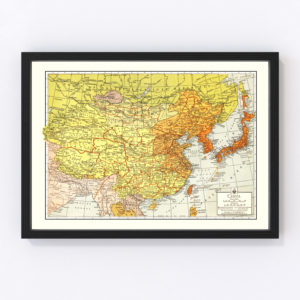 Vintage Map of China 1943