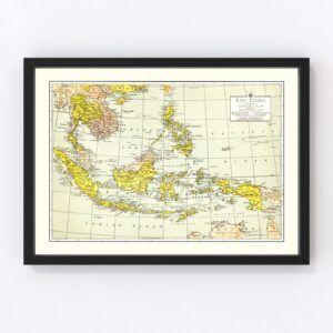 Vintage Map of East Indies 1943