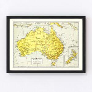 Vintage Map of Australia 1943