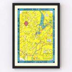 Vintage Map of Jackson Hole & Grand Teton National Park 1947