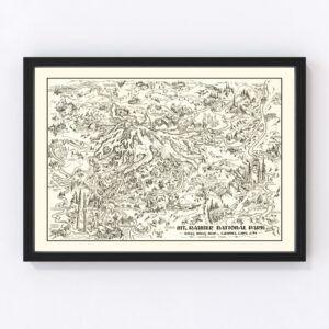 Vintage Map of Mt. Rainier National Park 1946