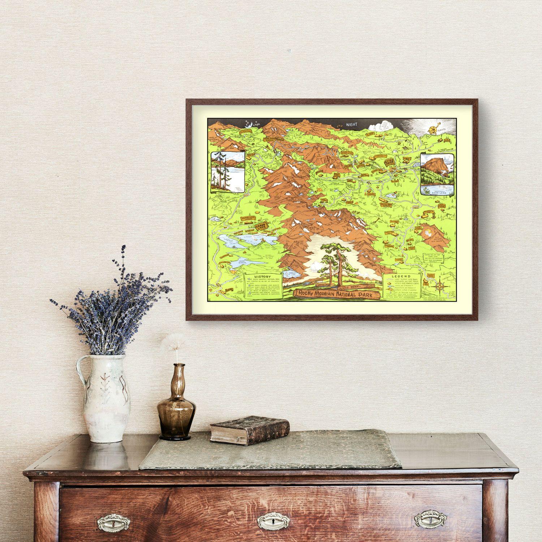 Vintage Map of Rocky Mountain National Park, Estes Park & Grand Lake 1948