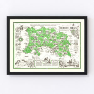 Vintage Map of Jersey, England 1957
