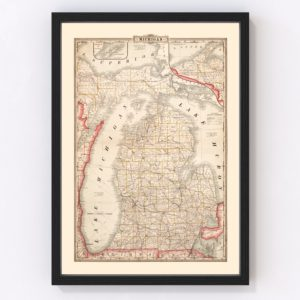 Vintage Map of Michigan 1882