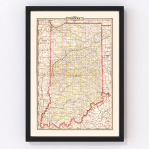 Vintage Map of Indiana 1882
