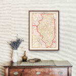 Vintage Map of Illinois 1882