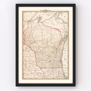 Vintage Map of Wisconsin 1882