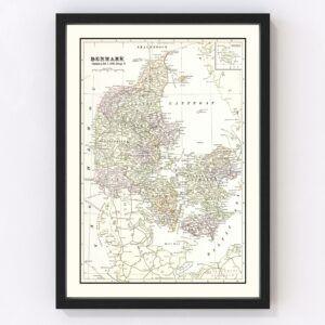 Vintage Map of Denmark 1901