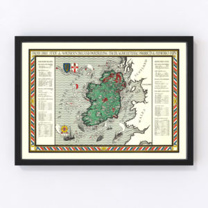 Vintage Agriculture & Fisheries Map of Ireland 1929