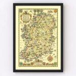 Vintage Map of Ireland 1933