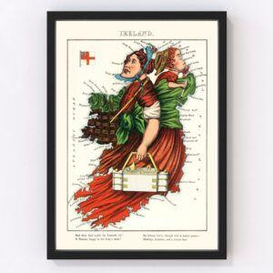 Vintage Map of Ireland 1868