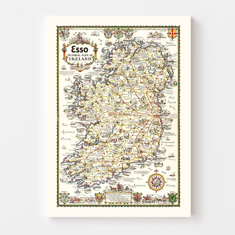 Vintage Pictorial Plan of Ireland 1933
