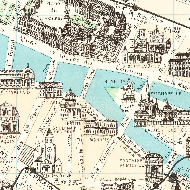 Vintage Map of Paris, France 1905
