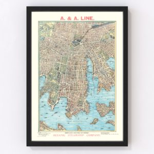 Vintage Map of Sydney, Australia 1902