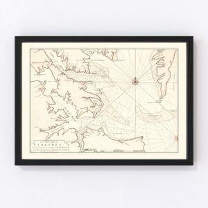 Vintage Map of Virginia 1742
