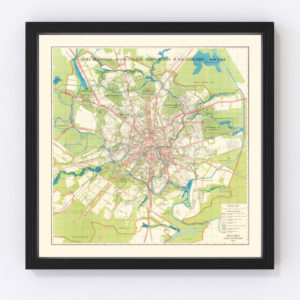 Vintage Map of Moscow, Russia 1935