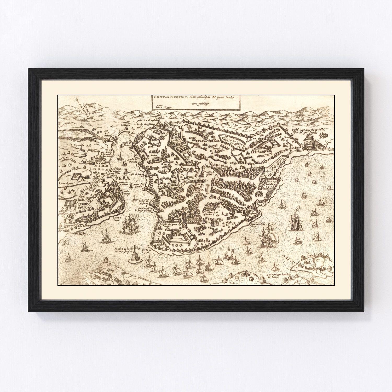 Vintage Map of Constantinople, Turkey 1572