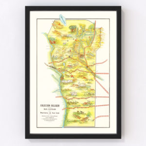 Vintage Map of San Luis, Argentina, 1933