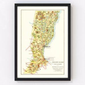 Vintage Map of Santa Fe, Argentina , 1933