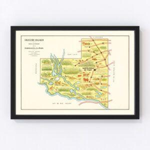 Vintage Map of La Pampa, Argentina, 1933