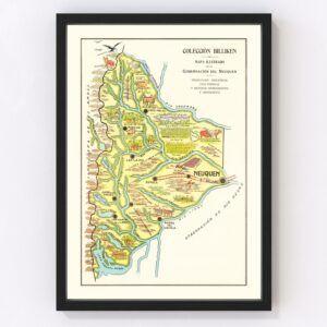 Vintage Map of Neuquen, Argentina, 1933