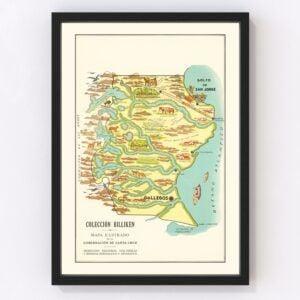 Vintage Map of Santa Cruz, Argentina, 1933