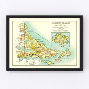 Vintage Map of Tierra del Fuego, Argentina, 1933