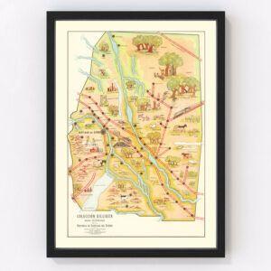 Vintage Map of Santiago del Estero, Argentina, 1933
