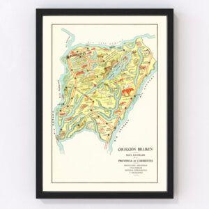 Vintage Map of Corrientes, Argentina, 1933