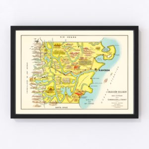 Vintage Map of Chubut, Argentina, 1933